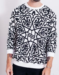 The Nemis Arabic Logo Sweater White is printed all-over in Nemis Arabic print, and is designed in a regular fit. Shop menswear from Nemis at PASAR now. Islamic Fashion, Muslim Fashion, Quality Street, Stylish Mens Fashion, White Sweaters, Street Wear, Menswear, Street Style, Street Fashion