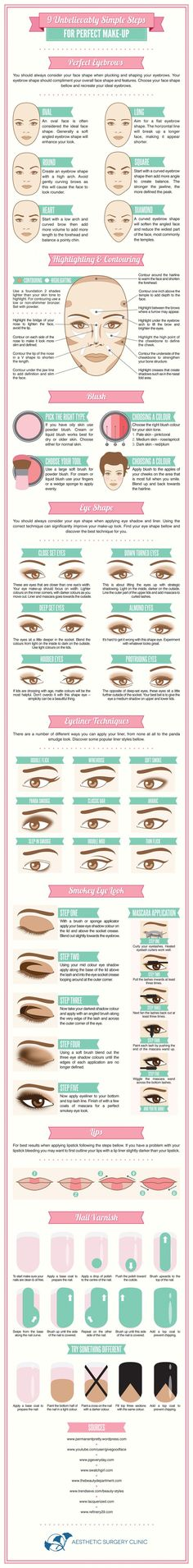 Makeup Tutorials - Here's a complete guide for perfect makeup for beginners.  Excellent reference for pros too! #makeup #beginners #tips