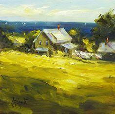 Washday, Monhegan by Barbara Applegate Oil ~ 6 x 6