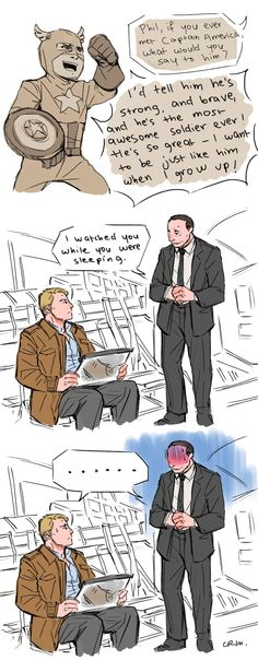 Phil, if you ever met Captain America... by crimson-sun || Phil Coulson, Steve Rogers || The Avengers || 700x1793 || #fanart #humor
