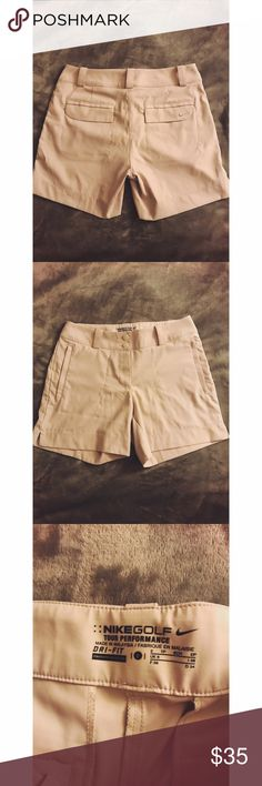 Nike Dri fit golf shorts Nike Dri fit gold shorts, like tan color pockets zip up never worn before perfect condition! Price is negotiable!! Nike Shorts