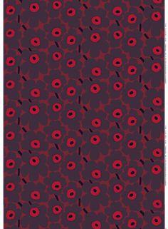 Marimekko Pieni Unikko 2 Fabric Red/Plum