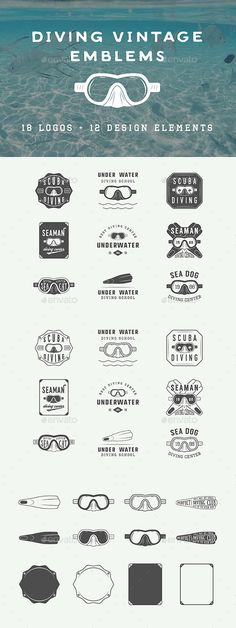 Vintage Diving Emblems - Badges & Stickers Web Elements