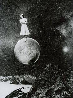 """""""The Lady Of Dreams"""": Surreal Vintage Photo Collages From The No-Photoshop Era By Grete Stern Grete Stern, Photomontage, Constellations, Psy Art, No Photoshop, Stars And Moon, Trippy, Oeuvre D'art, Collage Art"""