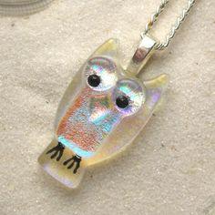 Dichroic Glass Owl Pendant