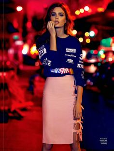 Josephine Skriver photographed by Nicole Heiniger and styled by William Graper for Elle Brazil magazine, January 2014. Love Heron Preston's Nascar top.