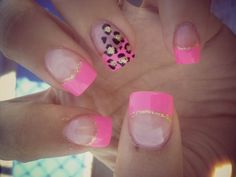 Pink, Gold, and Leopard Nails