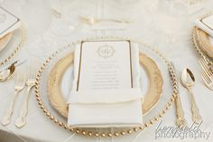 Glass charger with gold accents, traditional wedding menu. L. O. V. E. !!!!!!!!!!!!!!!!!!!!!!!!!!