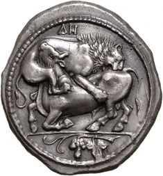 Tetradracma - argento - Akanthos (450-400 a.C.) - recto: un leone assalta un torello - Münzkabinett der Staatlichen Museen Berlin