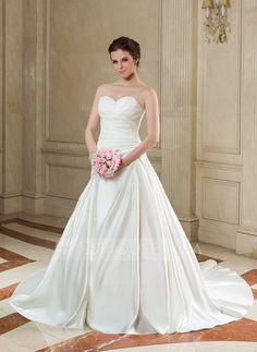Ball-Gown Sweetheart Chapel Train Satin Wedding Dress With Ruffle (002000587)