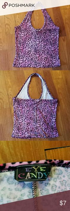 *SALE* Velvety Pink Leopard Print Halter Top Velvety Pink Leopard Print Halter top. Stretchy material. I would say it fits a junior M - L.  Measurements are pictured. Purrfect rockabilly top to pair with capris or high waist skirt. Tops
