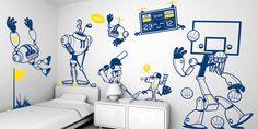 """VINILOS DECORATIVOS. Como he comentado en el apartado de habitaciones, la decoración con  juguetes son muy importantes, ya que son el alma del hotel. Si ha esto le añadimos decoraciones es paredes con el nombre del juguete o con dibujos del juguete en sí, el ambiente estará más conseguido. Para ello, existe en el mercado gran variedad de vinilos adhesivos que nos permiten """"personalizar"""" espacios de forma rápida, cómoda y económica."""