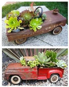 antique toy car planters-chicks and trucks make great gift idea too!!