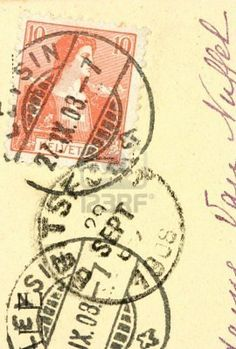 Vintage Helvetia post stamp cancelled in 1908. Old postcard.