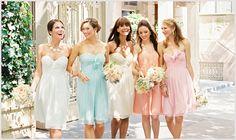 Pastel wedding - via Bridal Musings- Lover. Mix Match Bridesmaids, Chic Bridesmaid Dresses, Pastel Bridesmaid Dresses, Bridesmaids And Groomsmen, Wedding Bridesmaids, Bridal Dresses, Pastel Dresses, Rainbow Bridesmaids, Dresses Dresses