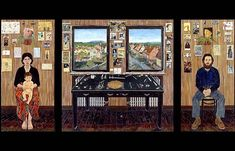 """The Fulbright Triptych , 1971-74 , oil on wood panels , 79 1/2 x 156"""" by Simon Dinnerstein"""