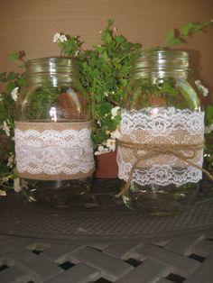 WEDDING BURLAP LACE Mason Jar Sleeves Decor by OHONEFINEDAY. , via Etsy.