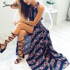 US $15.99 - Simplee Apparel new sexy sleeveless floral print long dress Hollow out backless summer dresses High waist maxi dress vestidos aliexpress.com