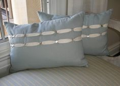 A little ribbon, a few buttons . . . quick and easy pillow trim I Valerie J Johnson Custom Tailored Home Furnishings