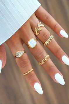 Leaf Crown Square Rings Set - In Fashion Hub Hair And Nails, My Nails, Ongles Forts, Manicure E Pedicure, Square Rings, Stiletto Nails, Nude Nails, Glitter Nails, Gold Glitter
