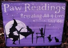 Paw Readings Witch Cat Sign Plaques Purple Lavender Primitives Tarot Cards Folk Art Shabby Halloween Magic Witches Witchcraft by SleepyHollowPrims for $30.40