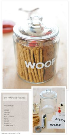 A gift for the pampered pet: DIY Pet Treat Jars | Creature Comforts Blog
