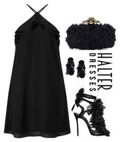 """This Summer Why Not Wear a Black Halter Dress?"" by paperdollsq ❤ liked on Polyvore featuring Miss Selfridge, Dsquared2, Oscar de la Renta, Monies, LittleBlackDress and halterdresses"