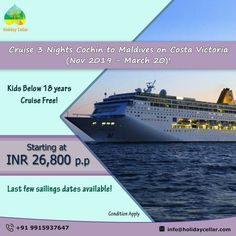 Enjoy an unforgettable exploration on Costa victoria cruise with this 3 Nights round-trip from Cochin to Maldives with #Holidayceller. Hurry! Don't' miss this chance! Contact for price and more details... Call or WhatsApp on 99159 37647 E-mail- info@holidaycellar.com #moldivetoCochin #Costavictoriacruise #newyear2020 #maldives #maldivestrip #newyearspecial #Maldivescruise #luxurycruise  #victoriacruises #Cochincruise #travel #travelplans #cruise #cruisetravel #cruisepackages #dreamcruises