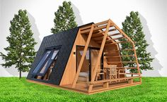 glamping unit mobile home model on Behance - Camping Travel Tiny House Cabin, Tiny House Design, Triangle House, Front Elevation Designs, Mediterranean Homes, Modern Architecture House, Mobile Home, Glamping, House Tours