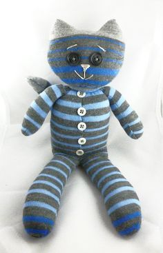 Hand Sewn Sock Toy Cat in Charcoal/Gray/Blue by DMcGettigan, $19.00