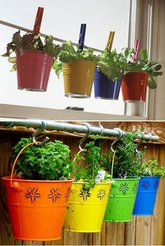 Love the hanging pots from the curtain rod! Hanging larger pots at different levels could be wonderful