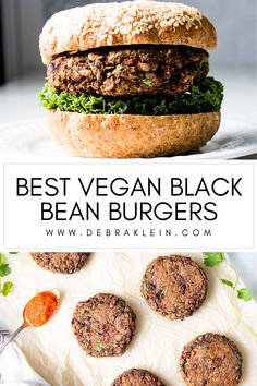 Easy Recipe for Black Bean Veggie Burgers. These healthy and wholesome plant based vegan black bean burger recipe comes with a simple roasted red pepper sauce - everything you want in a vegan burger, nothing you don't! Black Bean Veggie Burger, Black Bean Burgers, Healthy Dinner Recipes, Vegan Recipes, Roasted Red Pepper Sauce, Black Bean Recipes, Vegan Burgers, Vegan Dishes, Food Processor Recipes