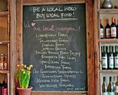 advertise local farms at your restaurant or small grocery store