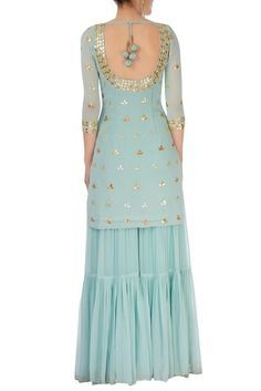 Sarara dress - Shop Esha Koul Ice blue embellishment sharara set Latest Collection Available at Aza Fashions Party Wear Indian Dresses, Designer Party Wear Dresses, Indian Fashion Dresses, Dress Indian Style, Indian Wedding Outfits, Indian Outfits, Gharara Designs, Kurta Designs Women, Kurti Designs Party Wear