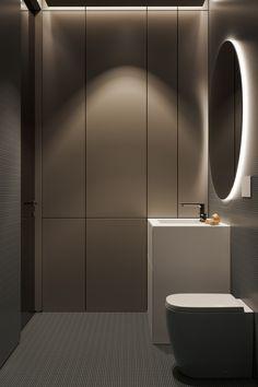 Bathroom Mirror Design, Backlit Bathroom Mirror, Bathroom Design Luxury, Bathroom Design Small, Bathroom Layout, Modern Bathroom, Bedroom Bed Design, Home Room Design, Modern Powder Rooms