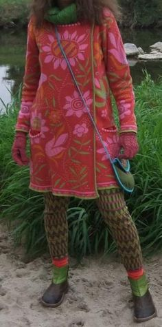 Love the combo of patterns and bright paired with muted.  Love the shape of this sweater.