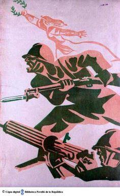 Spain - 1936-39. -GC - poster - [Dos soldats amb metralleta i fusell] :: Cartells del Pavelló de la República (Universitat de Barcelona)