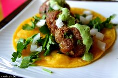 Mexican Meatball Street Tacos w/ Spicy Tomatillo cream.