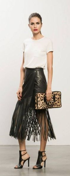 TAMARA MELLON..fringe black skirt