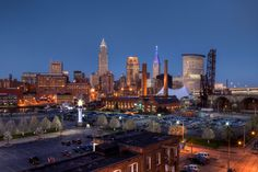 """The West Bank of Cleveland's Flats - The Powerhouse renovation was the """"anchor"""" of Jeff Jacobs' Nautica, now home of the Cleveland Aquarium and Windows on the River. This photo is a hybrid of images shot on two different evenings. www.AboutDanMorgan.com"""
