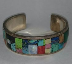 My paintbox bracelet,  multicolored gemstone mosaic inlay in a sterling silver cuff bracelet. Crafted by Rick Bradshaw, Las Cruces, NM #southwest jewelry #southwest art #turquoise #turquoise jewelry #Las Cruces #new mexico