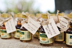 Maple syrup wedding favors: order small bottles and DIY labels. (Abby can help w/do the labels!)