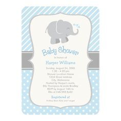 Elephant Baby Shower Invitations   Blue and Gray.  So cute for a baby boy with all of its stripes and polka dots!