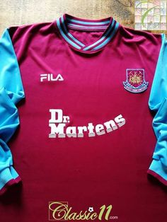 89ef6f91939dc Official Fila West Ham home long sleeve football shirt from the 2001/02  season.