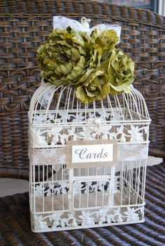 Bird Cage Card Holder With Fresh Flowers Wedding Diy Crafts And Decorations Pinterest