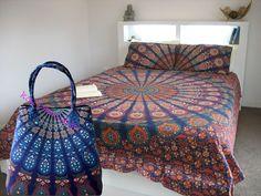 Boho Cotton Duvet Donna Cover Comforter Queen Mandala Indian Blanket Quilt Cover #Handmade #DuvetCover