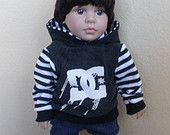 DC on black american girl, boy doll 18 inch doll hoodie