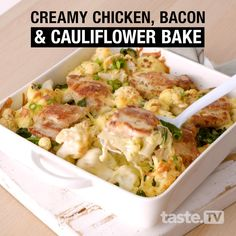 Combine chicken, bacon and cauliflower for a creamy bake that's completely gluten free. Baked Cauliflower, Cauliflower Recipes, Chicken Bacon, Chicken Recipes, Sausage Recipes, Australian Food, Australian Recipes, Cooking Recipes, Healthy Recipes