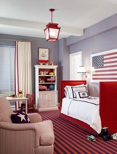 The lantern pendant in this room mixed with the upholstered beds—gorgeous! #lighting #toddler #room