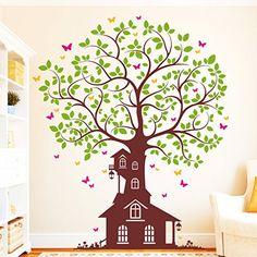 Amazing Wandtattoo Loft Baum Haus Schmetterling farbig Wandtattoo Farben